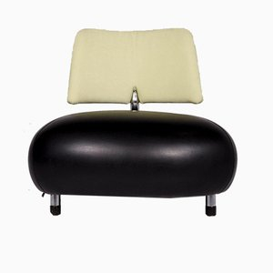 Vintage Black Leather Pallone Pa Armchair from Leolux