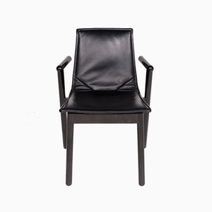Vintage Black Leather Armchair from Cassina