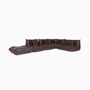 Vintage Leather Corner Togo Sofa and Footstool Set by Michel Ducaroy