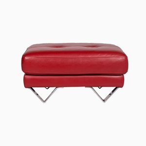 Vintage Red Leather Ottoman