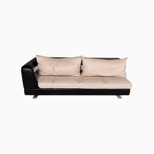 Vintage Cream and Dark Brown Leather 3-Seater Sofa