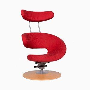 Vintage Red Armchair and Footstool Set by Olav Eldøy