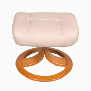 Vintage Beige Leather Footstool from Stressless