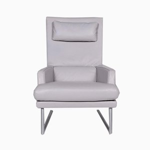 Vintage Gray Leather Armchair and Footstool Set from Rolf Benz