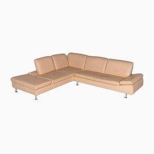 Vintage Beige Leather Corner Sofa from Ewald Schillig
