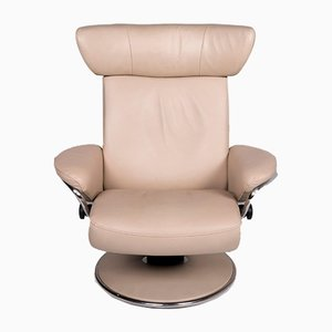Vintage Beige Leather Armchair and Footstool Set from Stressless