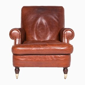 Vintage Brown Leather Armchair from Baxter