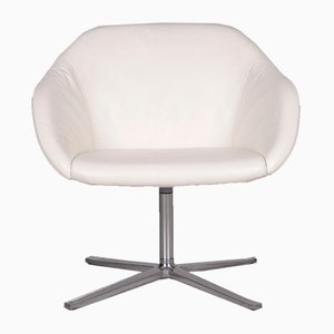 Vintage White Leather Swivel Chair from Walter Knoll
