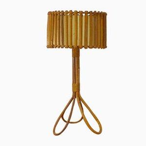 Mid-Century Rattan & Bamboo Tripod Table Lamp