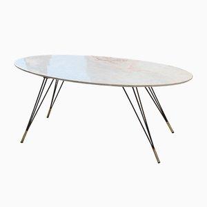 Tavolino da caffè in marmo, metallo e ottone, anni '50