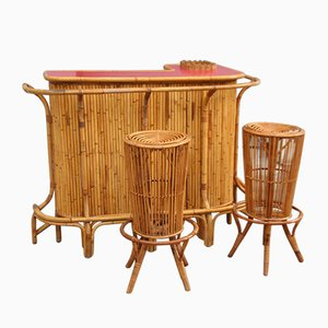 Bamboo Bar and Bar Stools by Tito Agnoli for Vittorio Bonacina, 1950s, Set of 3