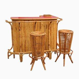 Taburetes de bar y bar de bambú de Tito Agnoli para Vittorio Bonacina, años 50. Juego de 3