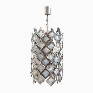 Lámpara de techo de acero y cristal de Murano, años 70