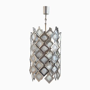 Steel and Murano Glass Ceiling Lamp, 1970s