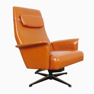 Leatherette and Metal Swivel Armchair, 1970s