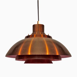 Danish Orange and Gold Pendant Lamp, 1960s