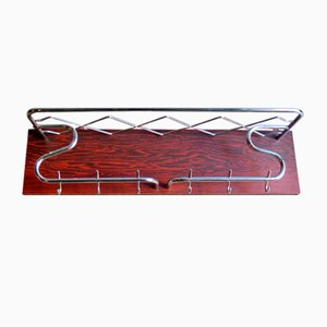 Chromed Rosewood Veneer Coat Rack, 1950s