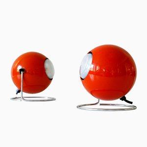 Deutsche Mid-Century Modell Eye Tischlampen aus Metall von Erco, 1960er, 2er Set