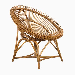 Dutch Rattan Lounge Chair from Rohé Noordwolde, 1960s
