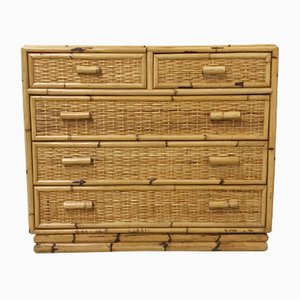 French Bamboo & Rattan Dresser, 1970s
