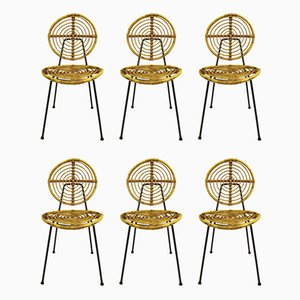 Rattan and Black Metal Model CM166 Side Chairs from Thonet, 1950s, Set of 6
