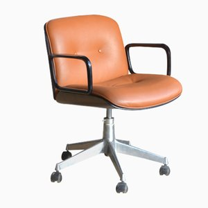 Mid-Century Cognac Leather and Rosewood Desk Chair by Ico Luisa Parisi for MIM
