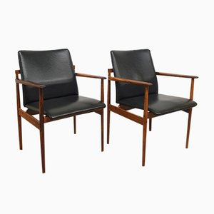 Rosewood and Skai Leather Armchairs from Thereca, 1960s, Set of 2