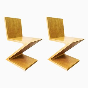 Chaises de Salle à Manger par Gerrit Rietveld, années 70, Set de 2