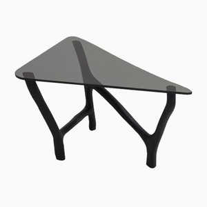 Black Oak & Glass Low Side Table by Robin Berrewaerts