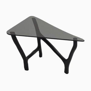 Tavolino basso in quercia e vetro nero di Robin Berrewaerts