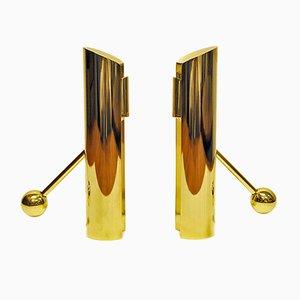 Portacandele in ottone di Pierre Forssell per Skultuna, Svezia, anni '60, set di 2