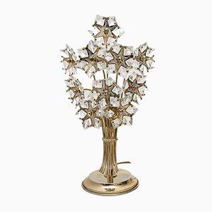 Italienische Mid-Century Wandlampen aus Kristallglas & Messing, 1960er, 2er Set
