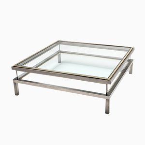 Chrome and Brass Coffee Table from Maison Jansen, 1970s