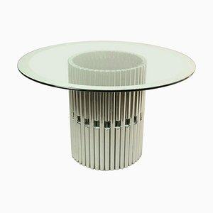 Tavolo da pranzo rotondo in vetro e metallo cromato di Gastone Rinaldi, Italia, anni '60