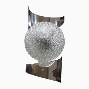 French Stainless Steel Sconce, 1970s