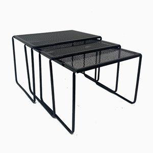 Tavolini ad incastro vintage in metallo traforato