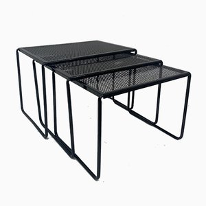 Vintage Perforated Metal Nesting Tables
