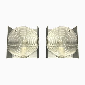 Mid-Century Glass Sconces, Set of 2