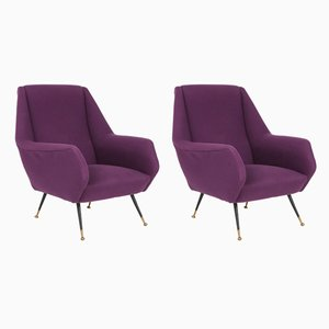 Purple Armchairs by Ico Luisa Parisi, 1950s, Set of 2