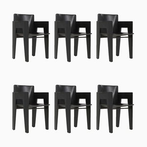 Black Oak and Leather Dining Chairs from Arco, 1980s, Set of 6