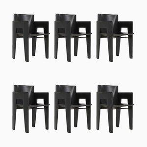 Chaises de Salle à Manger en Chêne Noir et Cuir de Arco, 1980s, Set de 6