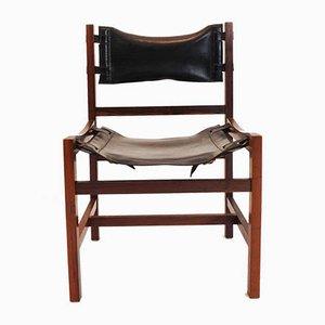 Esszimmerstühle mit Gestell aus Holz & Bezug aus Leder, 1960er, 4er Set