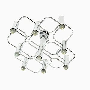Italian Chrome Ceiling Lamp by Gaetano Sciolari for Boulanger, 1960s
