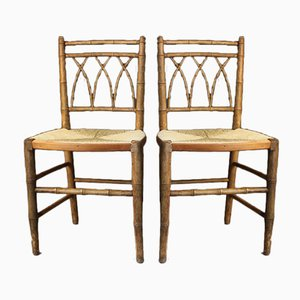 Antique Beech Side Chairs, Set of 2