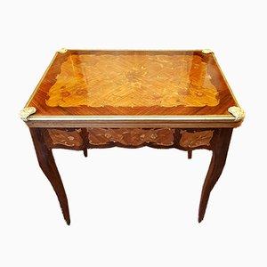 Mesa de juegos antigua de marquetería Louis XV de palisandro