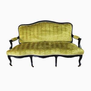 Antikes viktorianisches Sofa mit grünem Stoffbezug & ebonisiertem Holzgestell