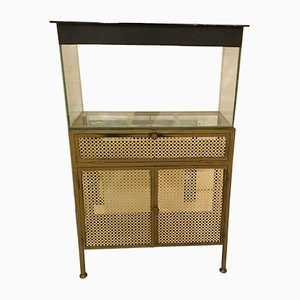 Mid-Century Italian Brass Cabinet with Aquarium