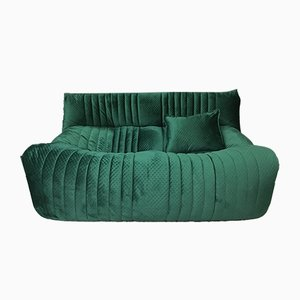 Vintage French Velvet Sofa by Michel Ducaroy for Ligne Roset