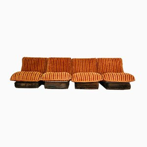 Modulare Vintage Sessel mit Veloursbezug, 1970er, 4er Set