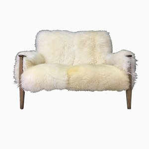 Canapé Mid-Century en Peau de Mouton Blanche de Parker Knoll, 1980s